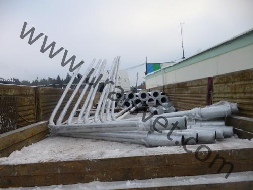 Опоры оцинкованные ОКС 2Ф 8,0 и кронштейны оцинкованные К2К отгружены в город Нижний Тагил